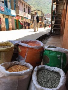 Village with dried chickpeas etc